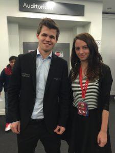 Magnus Carlsen  & Maria Manelidou at London Clasic 2015