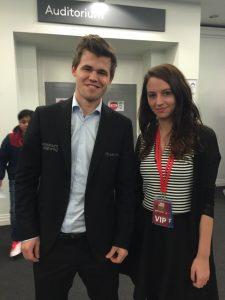 Magnus Carlsen and Maria Manelidou at London Classic 2015