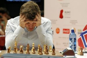 Magnus Carlsen - here during his third round game against Sergey Karjakin