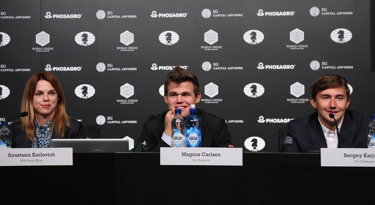 anastasia-karlovich-press-officer-for-the-world-chess-federation-magnus-carlsen-the-world-champion-and-sergey-karjakin-the-challenger-in-the-press-conference-ater-game-1