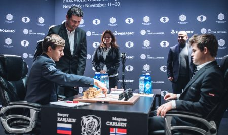 Game 11 of the World Chess Championship match ended in a draw
